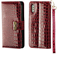 Crocodile Embossed Leather Wallet Case for iPhone XS / X - Burgundy