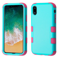 Military Grade Certified TUFF Hybrid Armor Case for iPhone XS / X - Teal Green Hot Pink