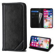 Mybat Genuine Leather Wallet Case for iPhone XS / X - Black