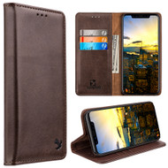 Luxury Leather Wallet with Removable Magnetic Case for iPhone XS / X - Brown