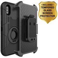 Anti-Shock Hybrid Case with Holster and Tempered Glass Screen Protector for iPhone XS / X - Black