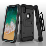 3-IN-1 Kinetic Hybrid Armor Case with Holster and Tempered Glass Screen Protector for iPhone XS / X - Black