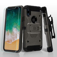 3-IN-1 Kinetic Hybrid Armor Case with Holster and Tempered Glass Screen Protector for iPhone XS / X - Dark Grey