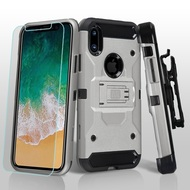 3-IN-1 Kinetic Hybrid Armor Case with Holster and Tempered Glass Screen Protector for iPhone XS / X - Silver