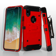 3-IN-1 Kinetic Hybrid Armor Case with Holster and Tempered Glass Screen Protector for iPhone XS / X - Red