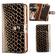 2-IN-1 Premium Leather Wallet with Removable Magnetic Case for iPhone XS / X - Crocodile