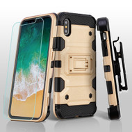 Military Grade Storm Tank Hybrid Case with Holster and Tempered Glass Screen Protector for iPhone XS / X - Gold