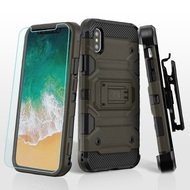 *SALE* Military Grade Storm Tank Hybrid Case + Holster + Tempered Glass Screen Protector for iPhone XS / X - Dark Grey