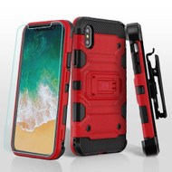 *SALE* Military Grade Storm Tank Hybrid Case + Holster + Tempered Glass Screen Protector for iPhone XS / X - Red