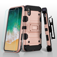 Military Grade Storm Tank Hybrid Case + Holster + Tempered Glass Screen Protector for iPhone XS / X - Rose Gold