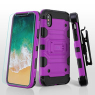 Military Grade Certified Storm Tank Hybrid Case + Holster + Tempered Glass Screen Protector for iPhone XS / X - Purple