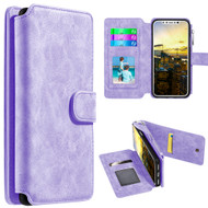 *SALE* Luxury Coach Series Leather Wallet with Removable Magnetic Case for iPhone XS / X - Lavender