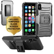 Advanced Armor Hybrid Kickstand Case with Holster and Tempered Glass Screen Protector for iPhone XS / X - Black