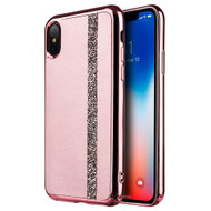 Diamond Belt Collection Electroplated TPU Case for iPhone X - Rose Gold