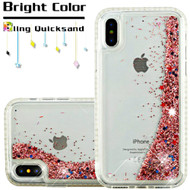 Diamond Quicksand Glitter Transparent Case for iPhone XS / X - Rose Gold