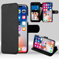 NeoUrban Leather Folio Wallet Case for iPhone XS / X - Black