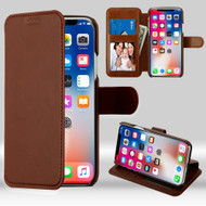 NeoUrban Leather Folio Wallet Case for iPhone XS / X - Brown