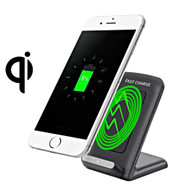Dual Coil Qi Wireless Charger Charging Stand - Black