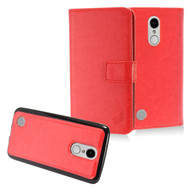 *SALE* 2-IN-1 Premium Leather Wallet with Detachable Magnetic Case for LG Aristo / Fortune / K8 2017 / Phoenix 3 - Red