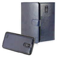*SALE* 2-IN-1 Premium Leather Wallet with Detachable Magnetic Case for LG Stylo 3 / Stylo 3 Plus - Navy Blue