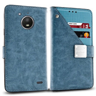 *SALE* Cosmopolitan Leather Canvas Wallet Case for Motorola Moto E4 - Blue