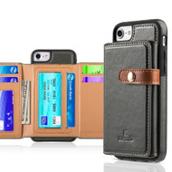Heritage Leather Case with Attached Tri-Fold Wallet for iPhone 8 / 7 / 6S / 6 - Dark Grey