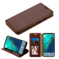 Book-Style Leather Folio Case for Google Pixel 2 XL - Brown