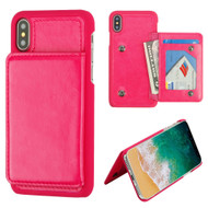 Pocket Wallet Case with Card Stand for iPhone XS / X - Hot Pink