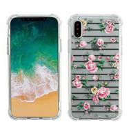 Klarity Premium Transparent Anti-Shock TPU Case for iPhone XS / X - Pink Fresh Roses