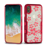 TUFF Panoview Transparent Hybrid Case for iPhone XS / X - Hibiscus Flower Red