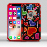 Military Grade Certified TUFF Merge Image Hybrid Armor Case for iPhone XS / X - Colorful Hearts
