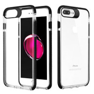 Crystal Clear Transparent TPU Case with Bumper Reinforcement for iPhone 8 Plus / 7 Plus - Black