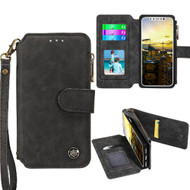*SALE* Eclipse Faux Suede Leather Wallet with Detachable Magnetic Case for iPhone XS / X - Black