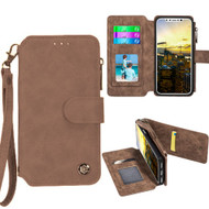 *SALE* Eclipse Faux Suede Leather Wallet with Detachable Magnetic Case for iPhone XS / X - Brown