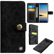 *SALE* Faux Suede Leather Wallet with Detachable Magnetic Case for Samsung Galaxy Note 8 - Black