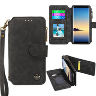 *SALE* Eclipse Faux Suede Leather Wallet with Detachable Magnet Case for Samsung Galaxy Note 8 - Black