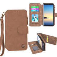 *SALE* Eclipse Faux Suede Leather Wallet with Detachable Magnet Case for Samsung Galaxy Note 8 - Brown