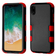 Military Grade Certified TUFF Hybrid Armor Case for iPhone XS / X - Black Red 252