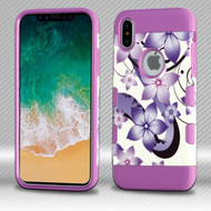 *SALE* Military Grade Certified TUFF Trooper Hybrid Armor Case for iPhone XS / X - Purple Hibiscus Flower Romance