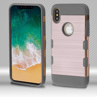 *SALE* Military Grade Certified TUFF Trooper Dual Layer Hybrid Armor Case for iPhone XS / X - Rose Gold Iron Gray