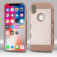 *SALE* Military Grade Certified TUFF Trooper Dual Layer Hybrid Armor Case for iPhone XS / X - Rose Gold 637