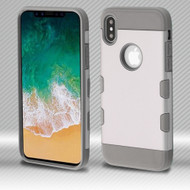 *SALE* Military Grade Certified TUFF Trooper Dual Layer Hybrid Armor Case for iPhone XS / X - Space Silver Iron Gray