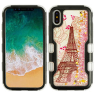 TUFF Quicksand Glitter Hybrid Armor Case for iPhone XS / X - Eiffel Tower