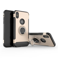 Carbon Edge Sports Hybrid Armor Case with Ring Holder for iPhone X - Gold