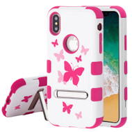 Military Grade Certified TUFF Image Hybrid Armor Case with Stand for iPhone XS / X - Butterfly Dancing