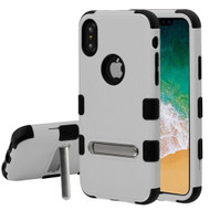 Military Grade Certified TUFF Hybrid Armor Case with Stand for iPhone XS / X - Gray
