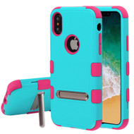 Military Grade Certified TUFF Hybrid Armor Case with Stand for iPhone XS / X - Teal Green Electric Pink