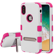 Military Grade Certified TUFF Hybrid Armor Case with Stand for iPhone XS / X - Cream White Hot Pink