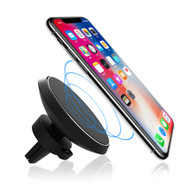 Magnetic Air Vent Mount Wireless Charging Qi Charger - Black