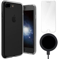 Starter Pack - Clear TPU Case + Wireless Charger + Tempered Glass Screen Protector for iPhone 8 Plus